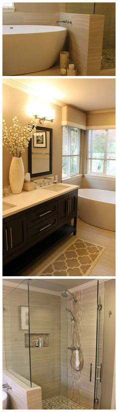 we love the warm tones and spa like feel of this bathroomremodel - Bathroom Remodel Designs