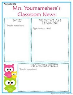 Owl Classroom Newsletter Awesome! I will use this 2013-2014!