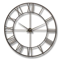 Antique brown modern metal framed wall clock From Hill Interiors