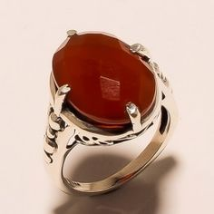 SG01 925 SOLID STERLING SILVER FACETED CARNELIAN  RING SZ 8 , 6.8 GRM