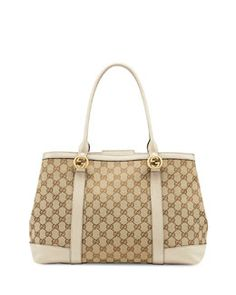 V1XWH Gucci Miss GG Large Canvas Tote Bag, Beige