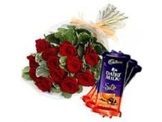 Flowers with Chocolates - Red Roses n Cadbury Silk