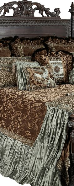"Reilly-Chance Collection Aristocat Luxury Bedding combines milk chocolate colored cut velvet with a fun leopard print, soothing spa green crushed silks, and a rich faux mink.  Each piece is detailed - ""collage"" piecing on the pillows, to the added jeweled piece on the back euros make set fabulous! Our over sized bedding is designed to fit the larger beds of today with ample drop on both the duvet and the dust skirt. Brimnes Bed, Large Beds, Luxury Bedding, Old World, Sweet Dreams, Decorative Pillows, Duvet, Interior Decorating, Exterior Homes"