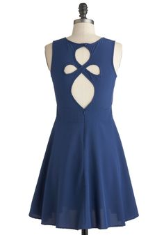 On the Loop-out Dress in Navy - Mid-length, Blue, Solid, Cutout, Casual, A-line, Sleeveless, Summer