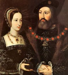Princess Mary Tudor with Charles Brandon. Duke of Suffolk. Marriage portrait, circa 1515