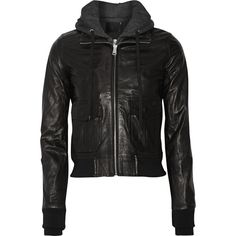 27c43fad7477 R13 Hooded washed-leather and jersey biker jacket ( 1