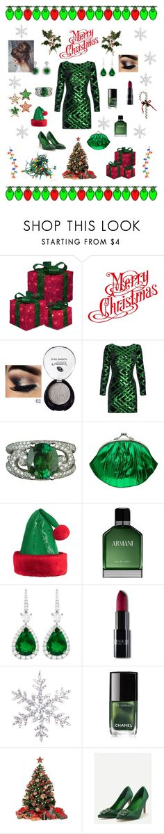 """Chrismas Party Green"" by marnie1979 ❤ liked on Polyvore featuring Nissa Jewelry, Armani Beauty, Rubis, Chanel and WithChic"