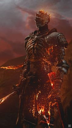 (Soul of Cinder - Dark Souls - Dark Souls/Bloodborne - Majestic. (Soul of Cinder – Dark Souls - Dark Fantasy Art, Fantasy Kunst, Fantasy Armor, Medieval Fantasy, Dark Art, Fantasy Creatures, Mythical Creatures, Arte Dark Souls, Soul Game