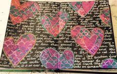 Summery Shakespeare Love Dylusion paints, stencils, paint pens