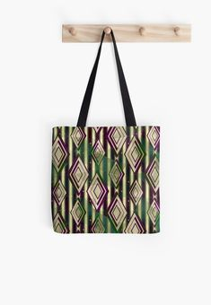 Abstract geometric pattern. Abstract, geometric, pattern, lines, shapes, stripes, rhombic, brown,yellow, beige, green, lilac, illustration, decor, bright, • Also buy this artwork on bags, apparel, stickers, and more.