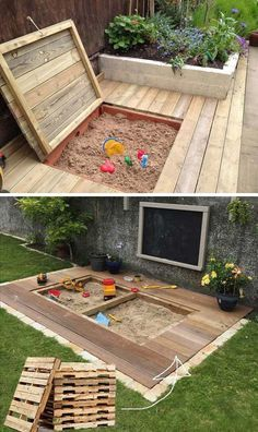 17 Cute Upcycled Pallet Projects for Kids Outdoor Fun – Children love to play in the sand! Here we found a great DIY idea on how to create a little childre – - 17 Cute Upcycled Pallet Projects for Kids Outdoor Fun - Children love to play i. Outdoor Fun For Kids, Backyard For Kids, Backyard Patio, Backyard Furniture, Wedding Backyard, Kids Yard, Kids Furniture, Outdoor Play Areas, Pallet Furniture