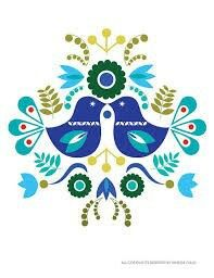 Folk Embroidery Patterns Scandinavian Folk Art Spring Blue love bird flower-Art Print Paper size: X 5 X 7 Image size: Centered on the paper The image is printed - Folk Embroidery, Embroidery Patterns, Hungarian Embroidery, Art Floral, Bordado Popular, Polish Folk Art, Scandinavian Folk Art, Scandinavian Pattern, Tole Painting