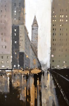 """Geoffrey Johnson, """"Gold Umbrella,"""" oil on panel -- at the Principle Gallery Skyline Painting, Cityscape Art, City Painting, Street Painting, Painting Art, Urban Landscape, Landscape Art, Landscape Paintings, Watercolor Landscape"""