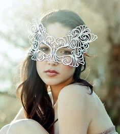 Bridal Veil leather mask in White Rococo by TomBanwell on Etsy, $42.00