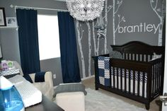 Gray and Navy Modern Nursery with Tree Wall Decals