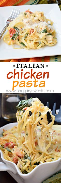 Creamy pasta filled with chicken, sun dried tomatoes and spinach! Bake in a cass… Creamy pasta filled with chicken, sun dried tomatoes and spinach! Bake in a casserole topped with lots of cheese, YUM! Pasta Recipes, Chicken Recipes, Dinner Recipes, Cooking Recipes, Healthy Recipes, Casserole Recipes, Italian Chicken Casserole, Italian Chicken Pasta, Italian Dishes