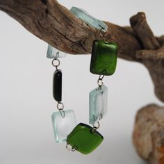 Fused recycled forest green bottle glass and clear window glass bracelet.