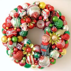 Vintage  Christmas Ornaments Wreath Elf & Santas by giddyuppony, $125.00