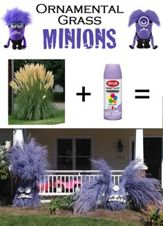 Ornamental grass minions - these are so perfect for Halloween! Minion Halloween, Minion Party, Holidays Halloween, Halloween Kids, Vintage Halloween, Halloween Crafts, Happy Halloween, Halloween Decorations, Halloween Party