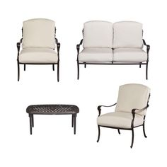 Hampton Bay Edington 4-Piece Patio Conversation Set with Bare Cushions-141-0124DSV2-NF at The Home Depot