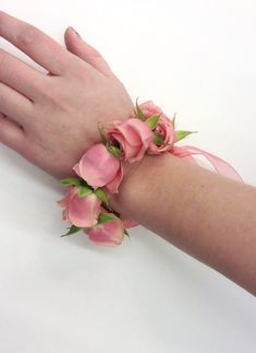 Wrist corsage rose bracelet with blush spray roses by Nancy at Belton Hyvee.