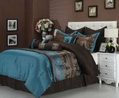 Nice Rustic Cabin Style Blue And Brown Bedding Comforter Set Teal Bedspreadteal Setsbedroom