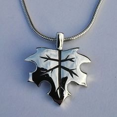 Sterling silver handmade maple leaf on silver snake chain
