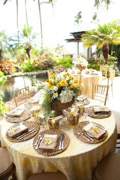 gorgeous - love it for a casual beach wedding Wedding Reception Design, Reception Table, Wedding Reception Decorations, Wedding Table, Wedding Events, Filipiniana Wedding Theme, Traditional Wedding Decor, Yellow Wedding, Wedding Grey