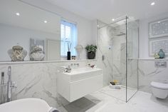 Expect excellence from Minoli Calacatta Extra marble-effect porcelain tiles. Expect excellence from Minoli Calacatta Extra marble-effect porcelain tiles. Bathroom Showrooms, Bathroom Renos, Bathroom Flooring, Bathroom Wall, Small Bathroom, Grey Marble Bathroom, Marble Look Tile, Royal Bathroom, Bad Inspiration