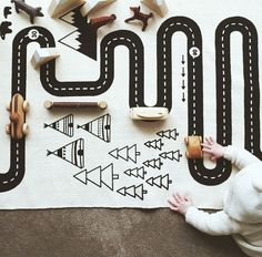 再入荷しました! ロードマップラグ 道路ラグ ロードラグ【art of black】プレイマット コットン キッズ インテリア 北欧 サーキット ベビー 赤ちゃん プレゼント ギフト ラッピング