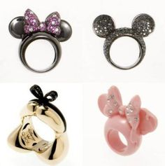 disney rings: Minnie, Mickey, Alice in Wonderland, Minnie Disney Rings, Disney Jewelry, Jewelry Box, Jewelry Accessories, Fashion Accessories, Jewlery, Disney Style, Disney Love, Disney Ideas