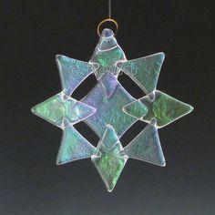 NORTH Clear Iridized Snowflake, Fused Glass Ornament Suncatcher