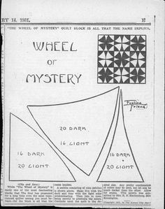 Wheel of mystery template = original from 1931 http://quiltindex.kora.matrix.msu.edu/files/30/163/1E-A3-6B9-545-D2006.1.19.17.jpg