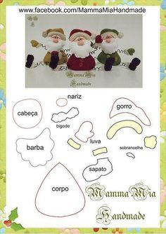 Mamma Mia Handmade: Noel Cast in Felt Felt Christmas Ornaments, Noel Christmas, All Things Christmas, Christmas Decorations, Father Christmas, Christmas Projects, Felt Crafts, Holiday Crafts, Bastelarbeit Winter