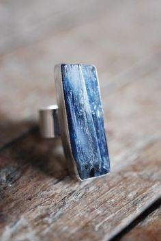 Blue Kyanite Ring!!!  I have a blue kyanite and quartz necklace that would go PERFECTLY with this ring!!  I want!