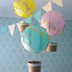 Whimsical Hot Air Balloon Decoration DIY kit YELLOW MINT & pink , Unisex Baby shower decor , travel theme , travel theme nursery - set of 3 - Balloon Decorations 🎈 Diy Baby Shower Decorations, Shower Centerpieces, Diy Nursery Decor, Room Decor, Nursery Room, Baby Decor, Mint Nursery, Nursery Ideas, Travel Theme Nursery