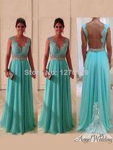 2014 Banquete de boda Vestido de Fiesta de la turquesa de gasa y tul Vestido Volver Desnudo Longo Precio barato Más vendido vestido de noche(China (Mainland))