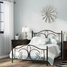 New Skeen Standard Bed by August Grove top rated furniture sale. Fashion is a popular style Country Bedroom Design, Steel Bed Frame, Oak Bedroom, Hillsdale Furniture, Headboard And Footboard, Headboards, Bed Reviews, Adjustable Beds, Metal Beds