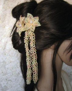 Your place to buy and sell all things handmade Geisha Hair, Ginger Peach, Peach Hair, French Beaded Flowers, Japanese Hairstyle, Kanzashi, Hair Beads, Girl Short Hair, Bride Hairstyles