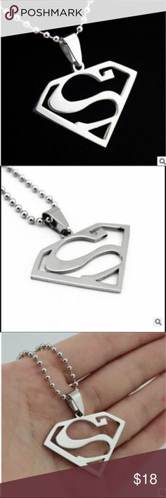 1 hour SALE Superman necklace Brand new in plastic wrap.                                  Pendant Size :32 X 27MM 1 Inches= 25.4 mm Necklace Chain Length: 50-60 CM / 23.6 inches Metal: Stainless Steel, Pure, never rust! Color: as show title picture Package contents: 1 pcs pendant + chain Material: steel Type: Jewelry Punk Necklace Jewelry Necklaces