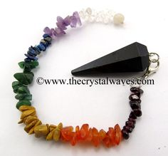 Black Tourmaline Faceted Pendulum With Chakra Chips Chain