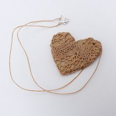 naalbinding (woven) ceramic heart necklace