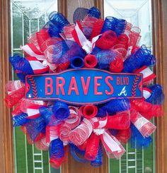 Atlanta Braves Curly Mesh Wreath by JenniferzWreaths on Etsy