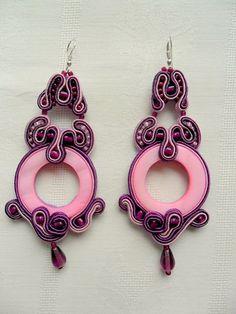 Soutache - Pink donut earrings