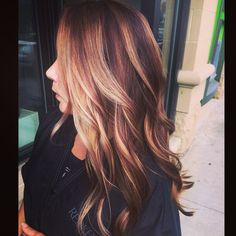 Ombré hair-- red and blonde highlights, auburn base