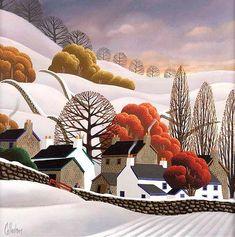 Description: George Callaghan (20th Century) - WINTER FARM, Oil on Canvas, 18 x 18 inches / 45.5 x 45.5 cm, Signed