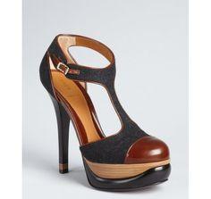 Fendi anthracite wool felt platform heels