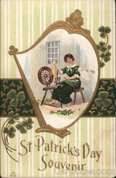 Woman in Green Works a Spinning Wheel St. Patrick's Day