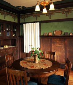 In rich colors evocative of the Arts & Crafts Movement, these wallpapers effortlessly enhance the warm tones in any type of wood found in Craftsman style homes. Craftsman Dining Room, Craftsman Decor, Craftsman Interior, Craftsman Style Homes, Craftsman Bungalows, Craftsman Cottage, Cottage House, Arts And Crafts Interiors, Arts And Crafts House