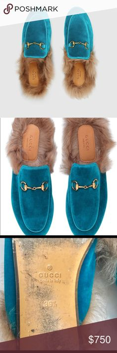 Gucci Princetown Slippers Well loved EUC Authentic Gucci Princetown Slippers  Size 9.5. These are a reposh, I love them so much but they are a half size to big for me. Fur-lined slippers with gold-tone horsebit hardware Upper: Velvet; Lining and sole: Leather Made in Italy  Orig:$1300  Does not come with orig box or dust bag  ✨✨OPEN TO OFFERS✨✨ #gucci #princetown #shoes Gucci Shoes Flats & Loafers